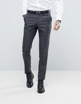 Ben Sherman Slim Fit Suit Pants in Gray Overcheck
