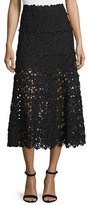 Donna Karan Ribbon Lace Midi Skirt, Black