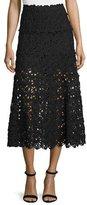 Donna Karan Ribbon Lace Midi Skirt, Black