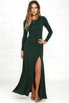 LuLu*s Swept Away Forest Green Long Sleeve Maxi Dress