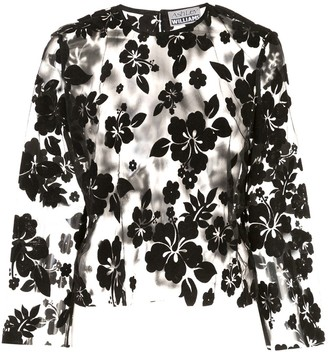 Ashley Williams Sheer Floral Embroidered Blouse