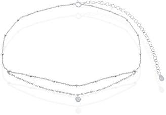 La Preciosa Sterling Silver Double Strand Small Beads by the Yard W/Single Bezel Set Cubic Zirconia 12+4'' Choker