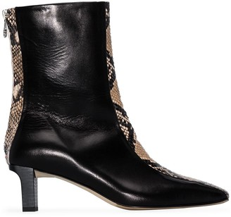 AEYDĒ Molly 55mm snake-effect ankle boots