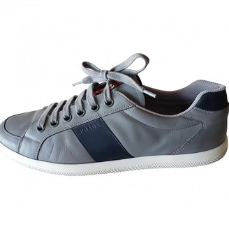 Prada Grey Leather Trainers