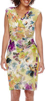 London Times Sleeveless V-Neck Chiffon Side Ruched Sheath Dress