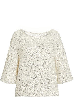 Sally LaPointe Sequined Cashmere-Silk Tee