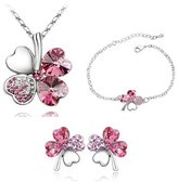 Fancy Jewelry Sets Gift Fancy Pink Clover Crystal Set Secret Language Of Love Jewelry Heart Shape Earrings & Bracelet & Necklace
