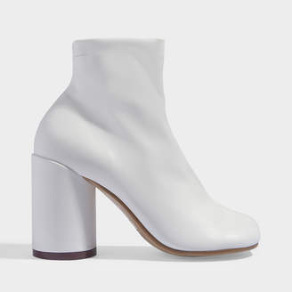 MM6 MAISON MARGIELA High-Heeled Ankle Boots In White Calfskin