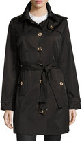 MICHAEL Michael Kors Hooded Trench Coat with Belt, Black