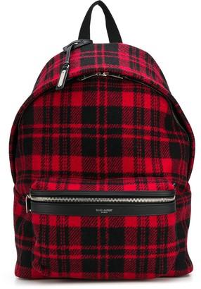 Saint Laurent tartan check City backpack