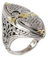 Konstantino Asteri White Diamond, 18K Yellow Gold and Sterling Silver Ring