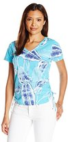 Caribbean Joe Women's Petite Multi Color Printed Cotton Spandex Short Sleeve V Neck Side Ruched Tee Shirt