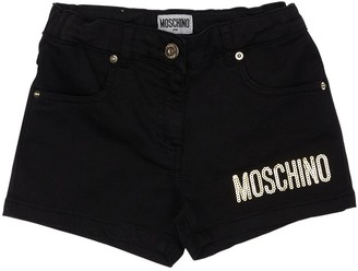 Moschino Sequined Stretch Cotton Denim Shorts