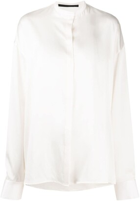 Haider Ackermann Silk-Satin Loose Shirt