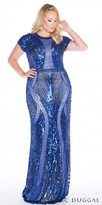 Mac Duggal Fully Sequined Short Sleeve Plus Size Evening Dress