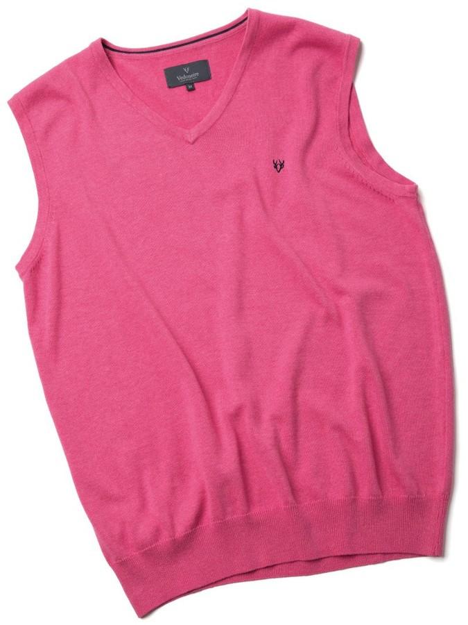 Vedoneire Men's Fine Gauge Cotton V-Neck Sleeveless Jumper (4220) Persian Pink (M (Chest 38-40 inch))