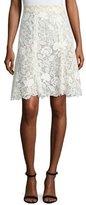 Monique Lhuillier Floral Guipure Lace Knee-Length Skirt