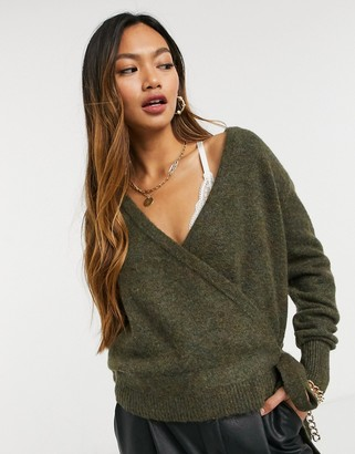 Y.A.S knitted cardigan with wrap detail and tie side I brown