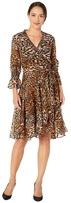 Tahari ASL Petite Animal Printed Chiffon Long Sleeve Dress with Side Tie and Cinched Sleeve (Classic Leopard) Women's Clothing