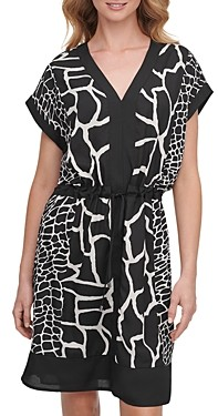 DKNY Printed V-Neck Dress
