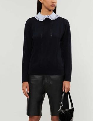 Claudie Pierlot Mignon ruffle-trim wool-blend jumper