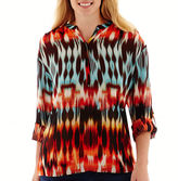 JCPenney A.N.A a.n.a 3/4-Sleeve Roll-Tab Mandarin Collar Woven Top - Plus