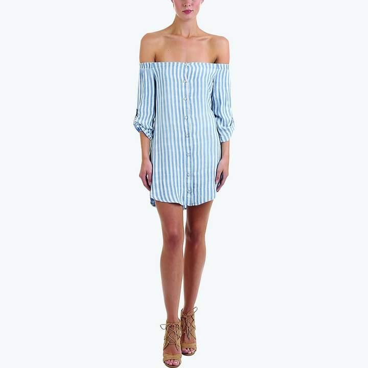 Bella Dahl Off-the-Shoulder Button-Down Dress