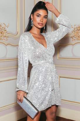 Quiz Sam Faiers Petite Silver Sequin Wrap Dress