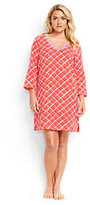 Lands' End Women's Plus Size Embroidered Woven Tunic Cover-up-Coral Bliss Atlantis Geo