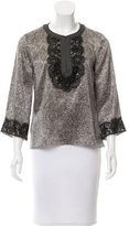 Andrew Gn Lace-Accented Silk Top