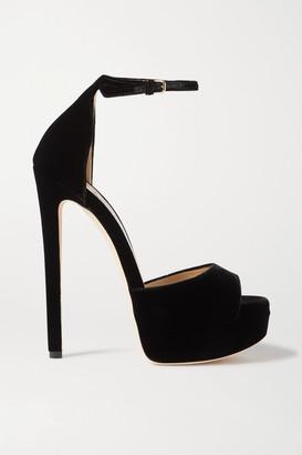 Jimmy Choo Max 150 Velvet Platform Sandals - Black