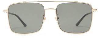 Gucci Square Metal Aviator Sunglasses - Womens - Black Gold