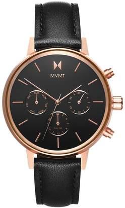 MVMT Nova Vela Stainless Steel Leather-Strap Watch