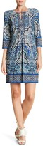 Sandra Darren Printed Keyhole Shift Dress