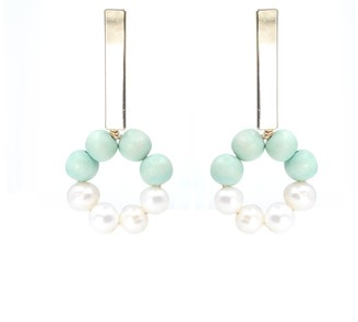 Soli & Sun The Carrie Hand-Crafted Statement Earrings - Turquoise & White