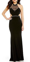 GB Social Beaded Mock Neck Illusion-Yoke Cut-Out Open-Back Gown