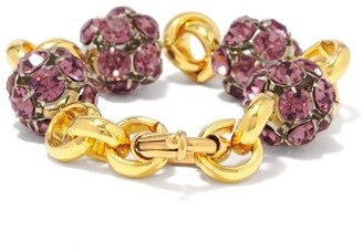 Timeless Pearly Crystal And 24kt Gold-plated Chain Bracelet - Gold Multi