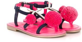 Billieblush Pom-Pom Suede Sandals