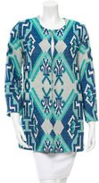 Maje Collarless Abstract Patterned Coat