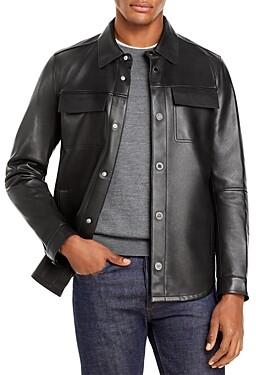 Karl Lagerfeld Paris Leather Shirt Jacket
