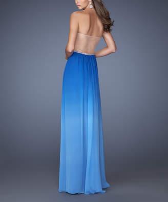 La Femme Fashion Women's Special Occasion Dresses Sapphire - Sapphire Blue Ombre Rhinestone-Belt Strapless Gown - Women