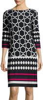 Jessica Howard 3/4-Sleeve Geo Print Shift Dress