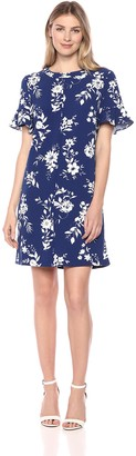 Lark & Ro Amazon Brand Women's Short Sleeve Ruffle Trim T-Shirt Dress
