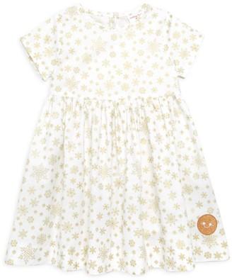 Smiling Button Baby's, Little Girl's & Girl's Metallic Snowflake Print Dress