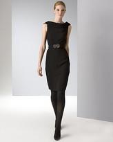 Anne Klein Dress Women's Sleeveless Roll Neck Sheath Dress with Black Lace and Belt