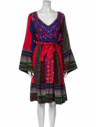 Matthew Williamson Printed Midi Length Dress w/ Tags Red