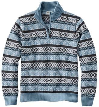 L.L. Bean Men's Double L Cotton Sweater, Quarter-Zip Fair Isle