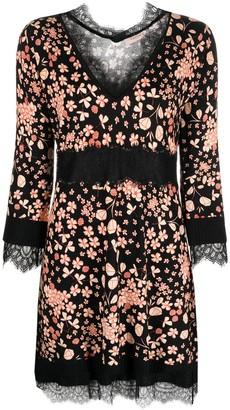 Twin-Set Floral-Print Lace-Trim Dress