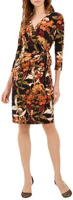 INC International Concepts Petite Mix-Print Faux Wrap Dress