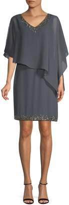 J Kara Asymmetrical Embellished Shift Dress